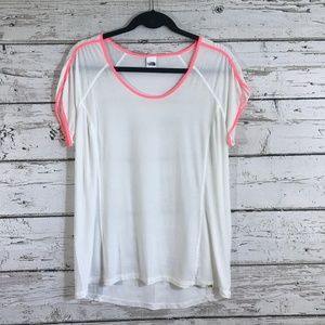 North Face White Pink Trim Sheer Top
